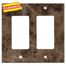 Clearance! Dark Emperador Marble Double Rocker Switch Plate