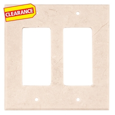 Clearance! Crema Marfil Marble Double Rocker Switch Plate