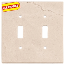 Clearance! Crema Marfil Marble Double Toggle Switch Plate