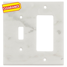 Clearance! Carrara White Marble Combination Switch Plate