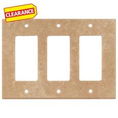Clearance! Light Beige Travertine Triple Rocker Switch Wall Plate