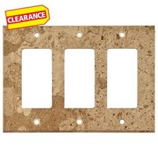 Clearance! Noce Travertine Triple Rocker Switch Wall Plate