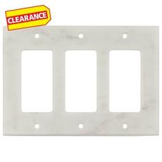 Clearance! Carrara White Marble Triple Rocker Switch Wall Plate