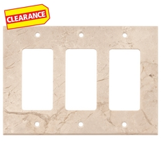 Clearance! Crema Marfil Marble Triple Rocker Switch Wall Plate
