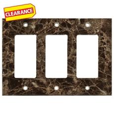 Clearance! Dark Emperador Marble Triple Rocker Switch Wall Plate
