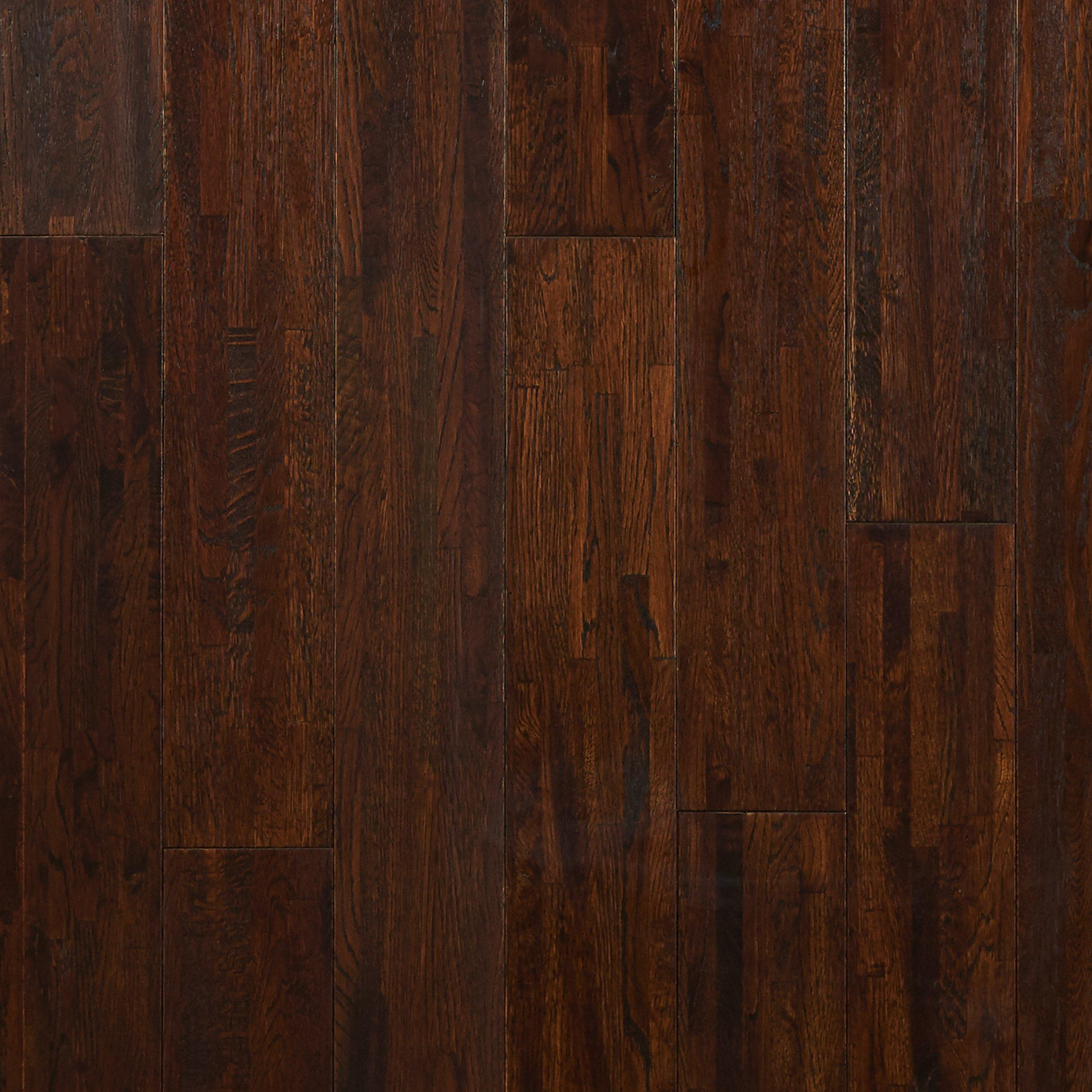 Timberclick Coffee Oak Wire Brushed Solid Hardwood   5/8in. X 4 3/4in.    942700445 | Floor And Decor