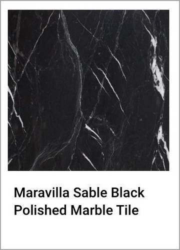 Maravilla Sable Black Polished Marble Tile