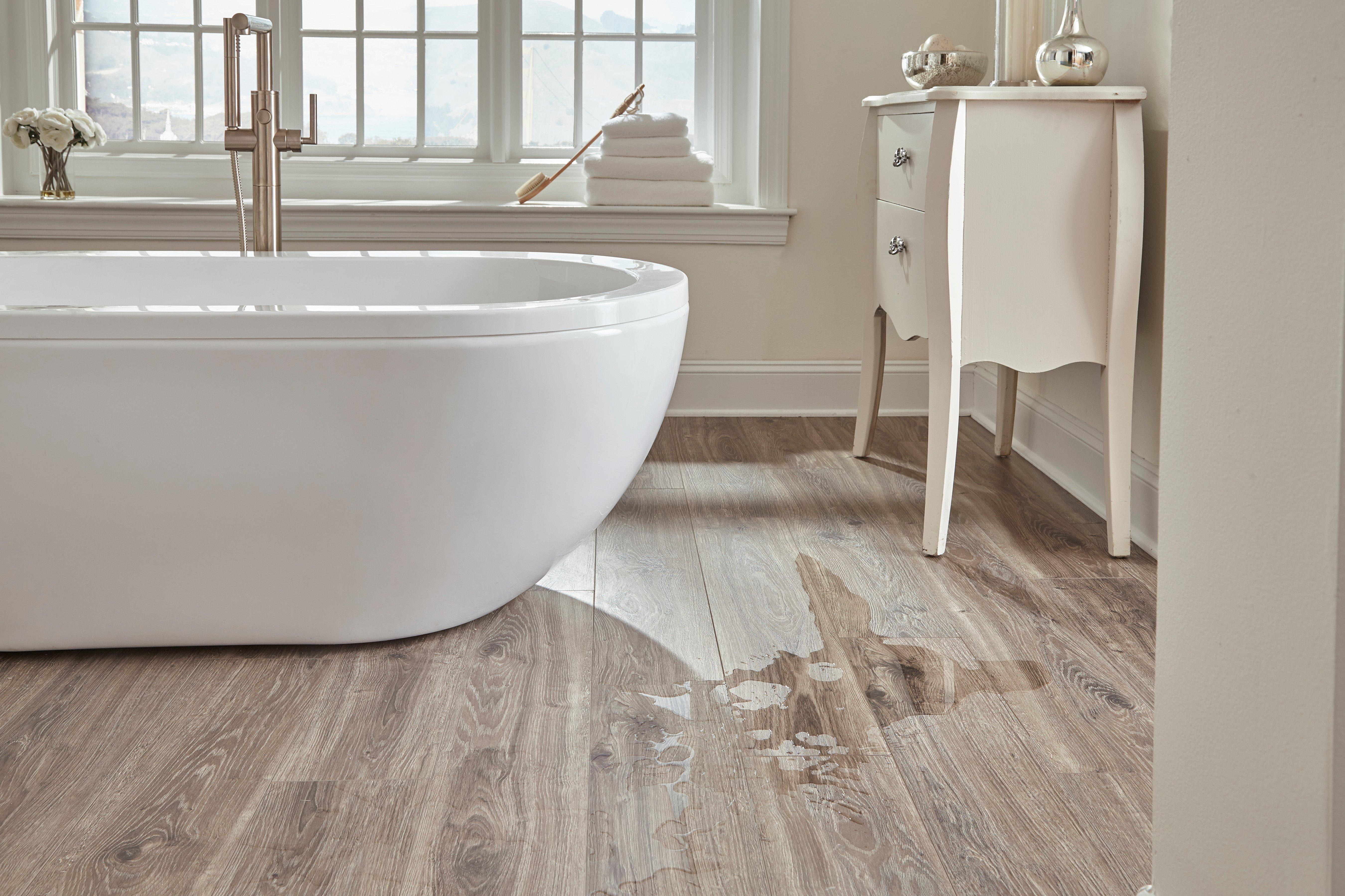 ... Water Resistant 2: Xaquaguard Smoky Dusk Water Resistant Laminate  Bathroom Floor Closeup Room ...