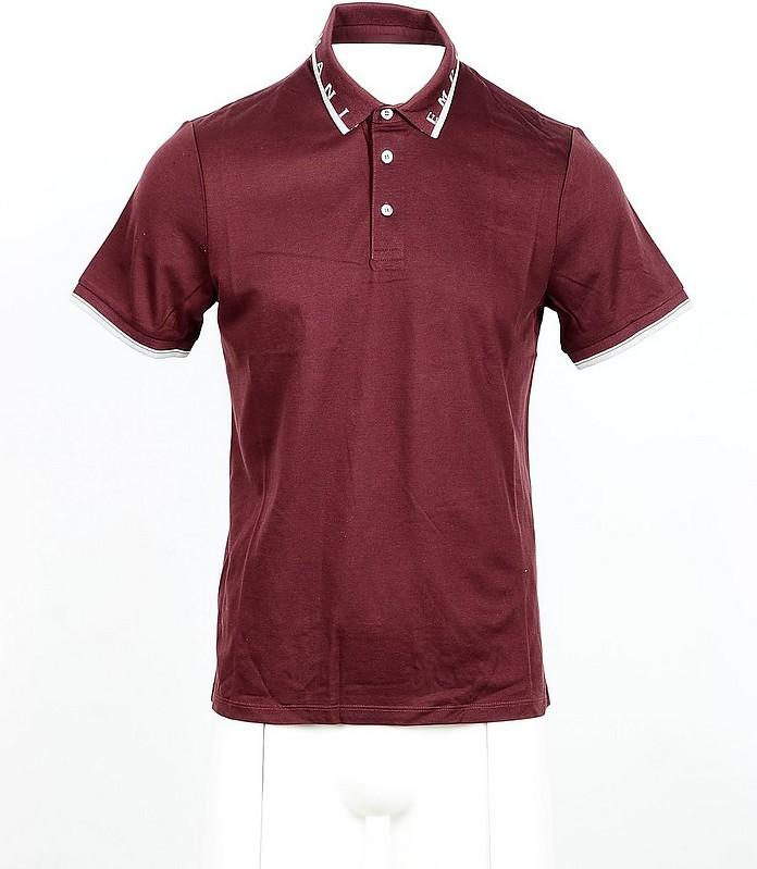 Bordeaux Cotton Men's Polo Shirt - Emporio Armani