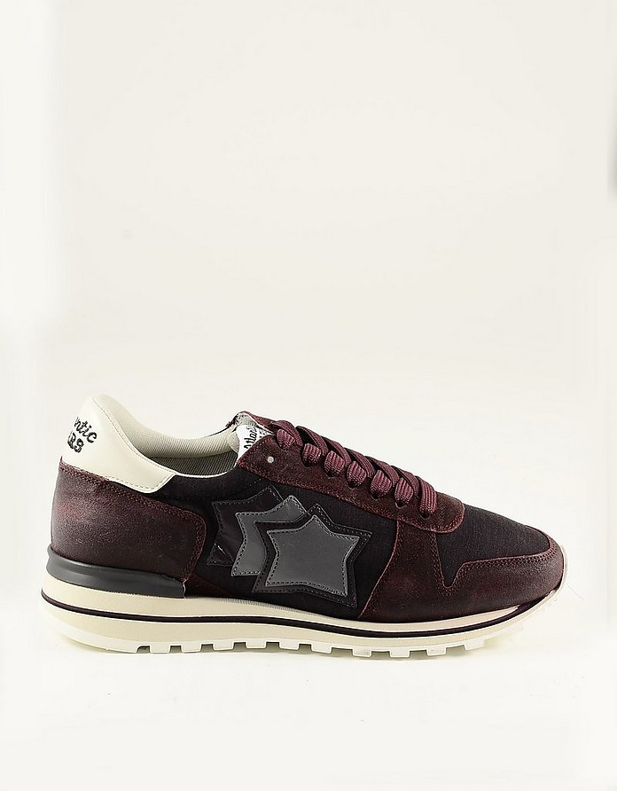 Bordeaux Nylon and Suede Men's Sneakers - Atlantic Stars
