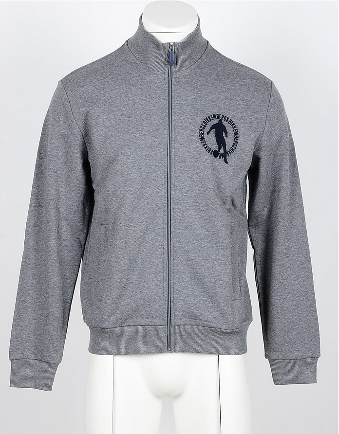 Gray Cotton Zip-Up Men's Sweatshirt - Bikkembergs