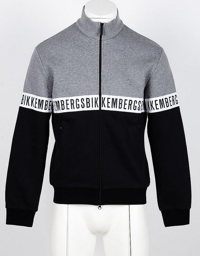 Black/Gray Color Block Cotton Zip-Up Men's Sweatshirt - Bikkembergs