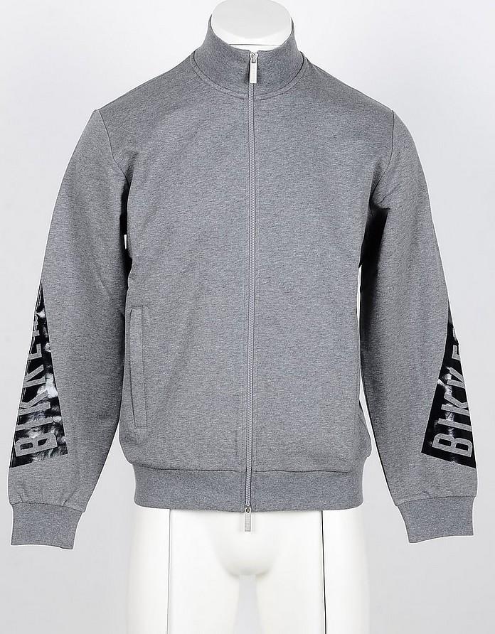 Gray Cotton Zip-Up Men's Sweatshirt - Bikkembergs