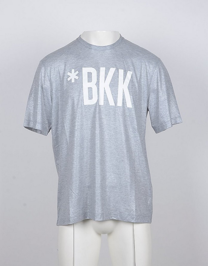 Melange Gray Cotton Signature Men's T-shirt - Bikkembergs
