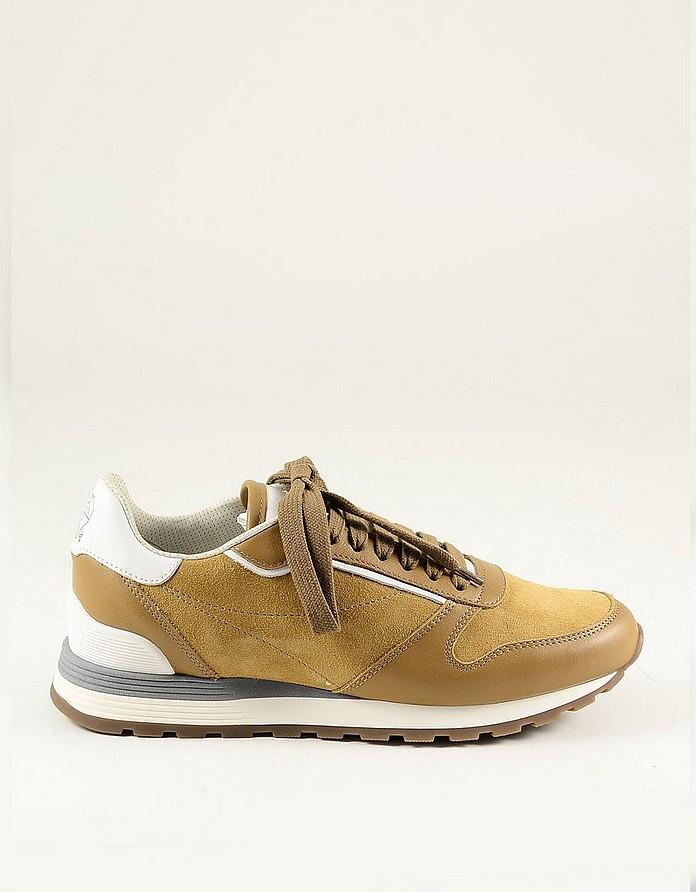 Beige Suede and leather Men's Sneaker - Brunello Cucinelli