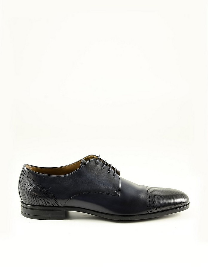 Blue Leather Men's Derby Shoes - Hugo Boss 雨果·波士