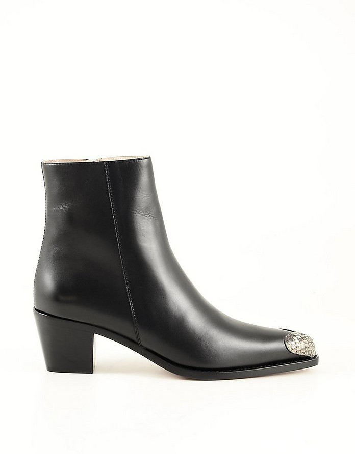 Black Leather Women's Ankle Boots - BOYY
