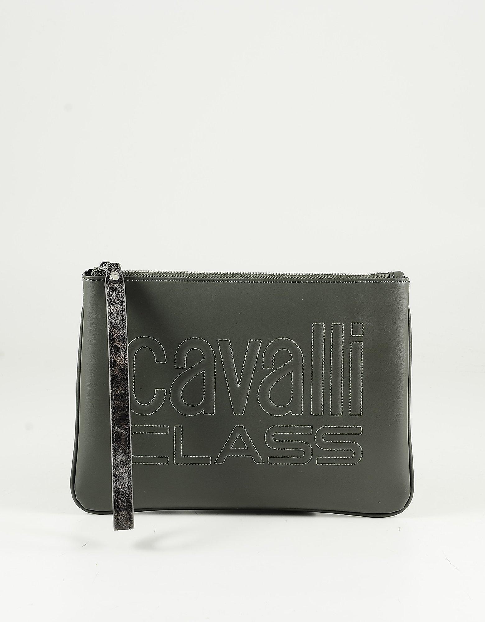 Class Roberto Cavalli Color Block Green Eco-leather Clutch W/shoulder Strap