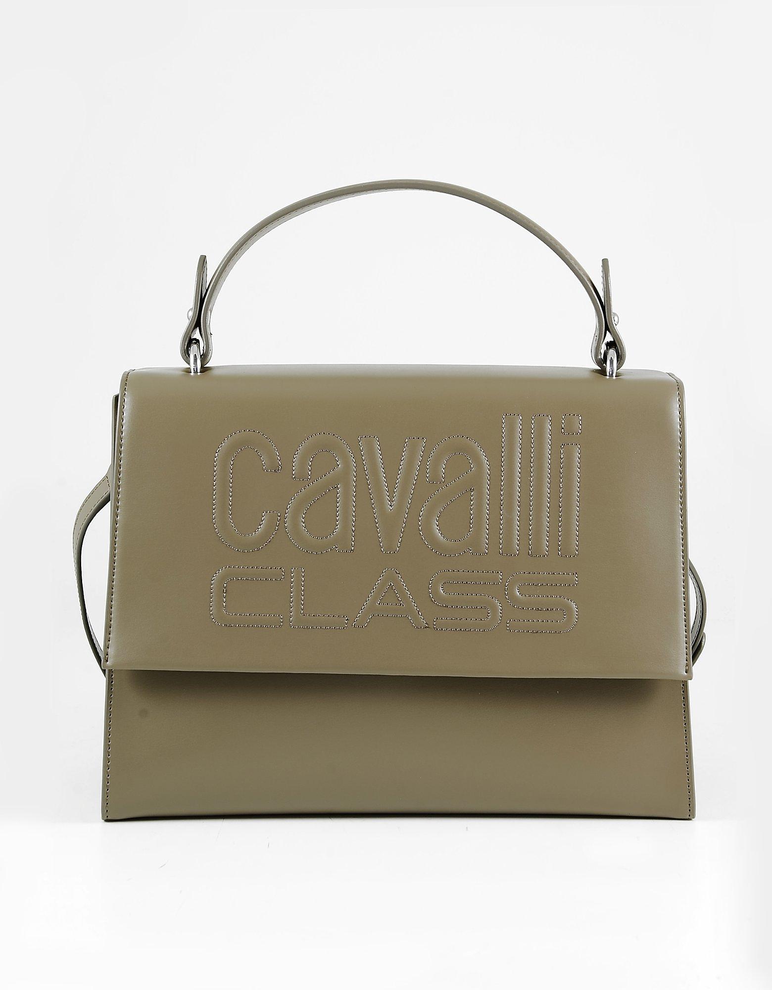 Class Roberto Cavalli Brown Top Handle Satchel Bag
