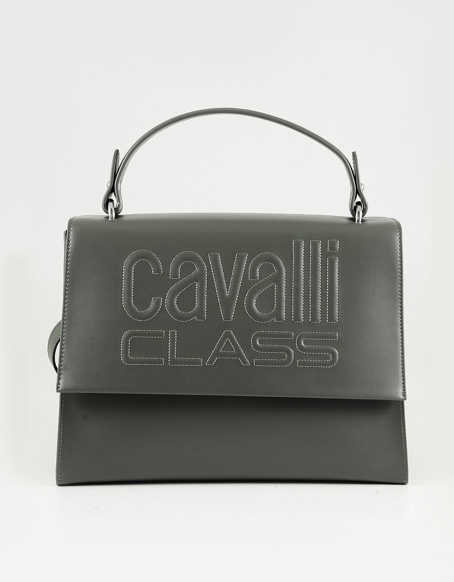 Class Roberto Cavalli Olive Green Top-handle Satchel Bag In Dark Green