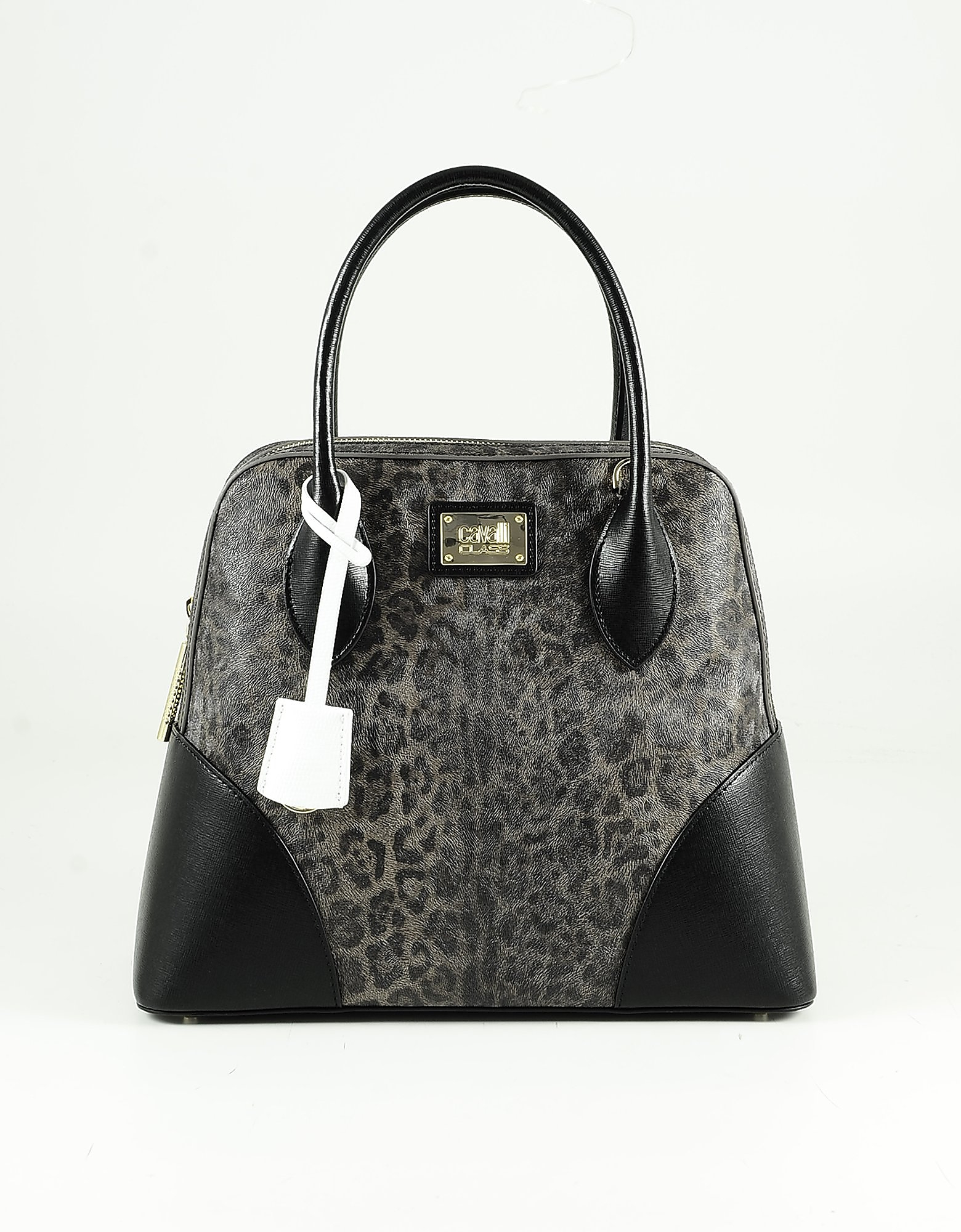 Class Roberto Cavalli Animal Print Eco-leather Bowler Bag In Black