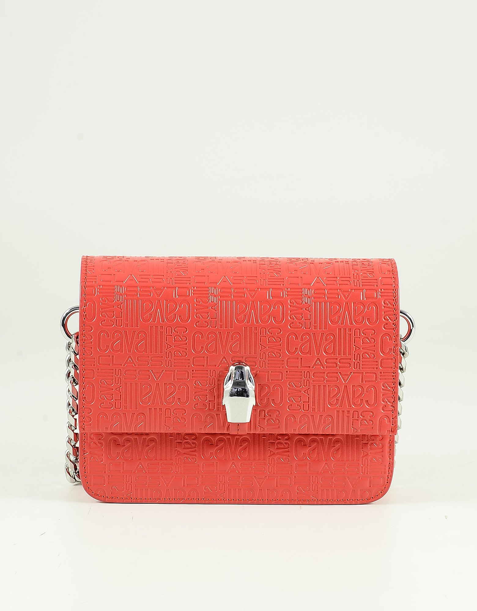 Class Roberto Cavalli Red Signature Embossed Shoulder Bag