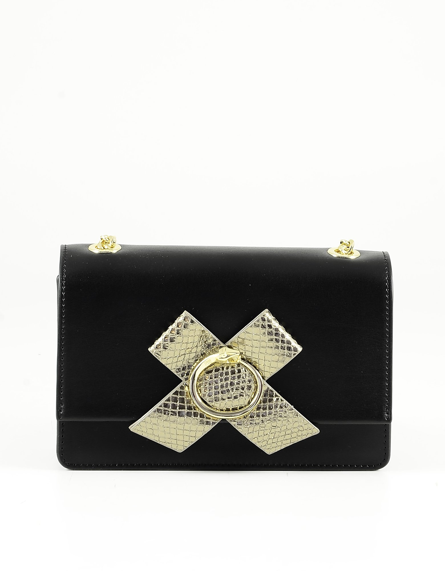 Class Roberto Cavalli Black Leather And Pvc Bag W/golden Bow