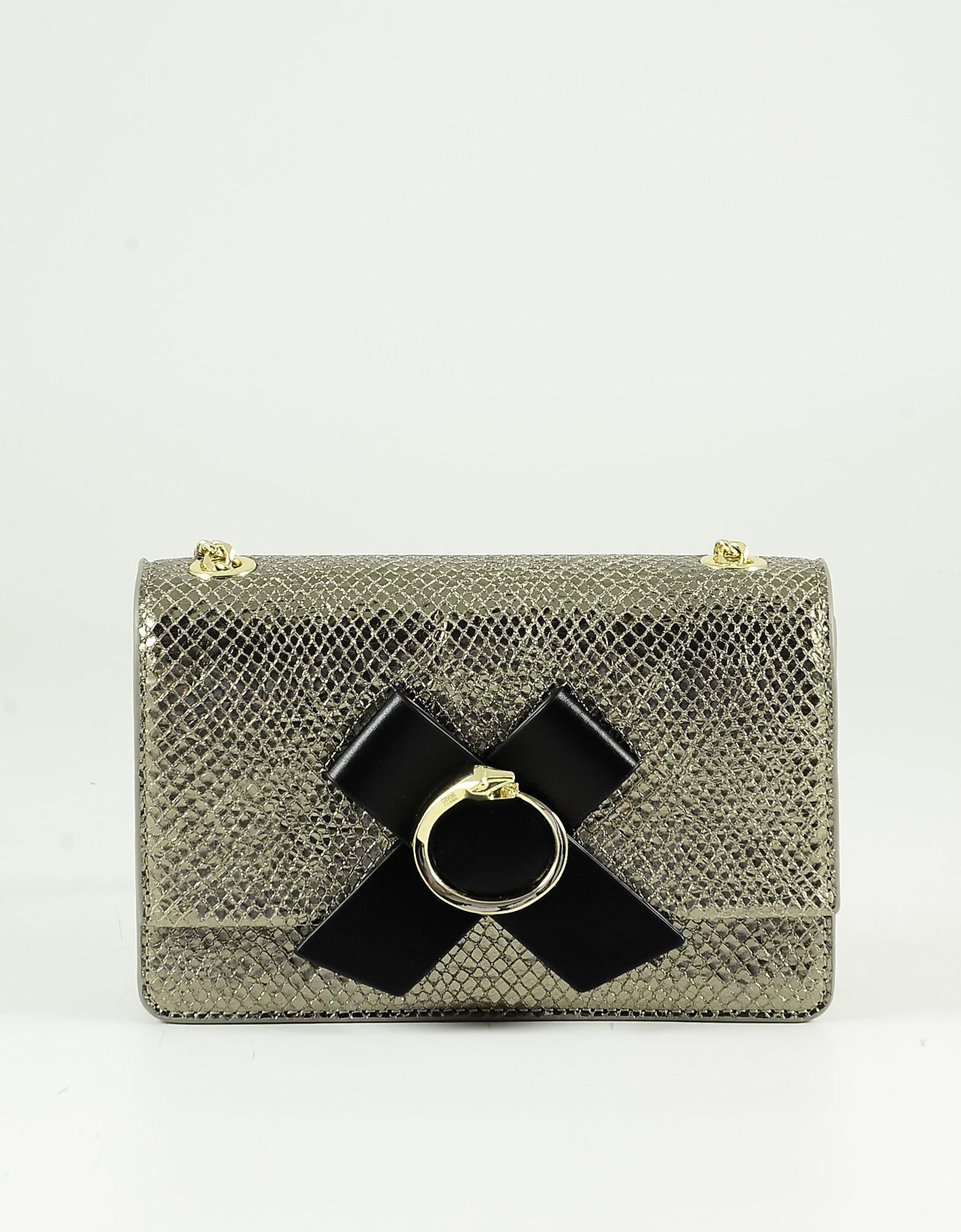 Class Roberto Cavalli Animal Print Gold Eco-leather Shoulder Bag