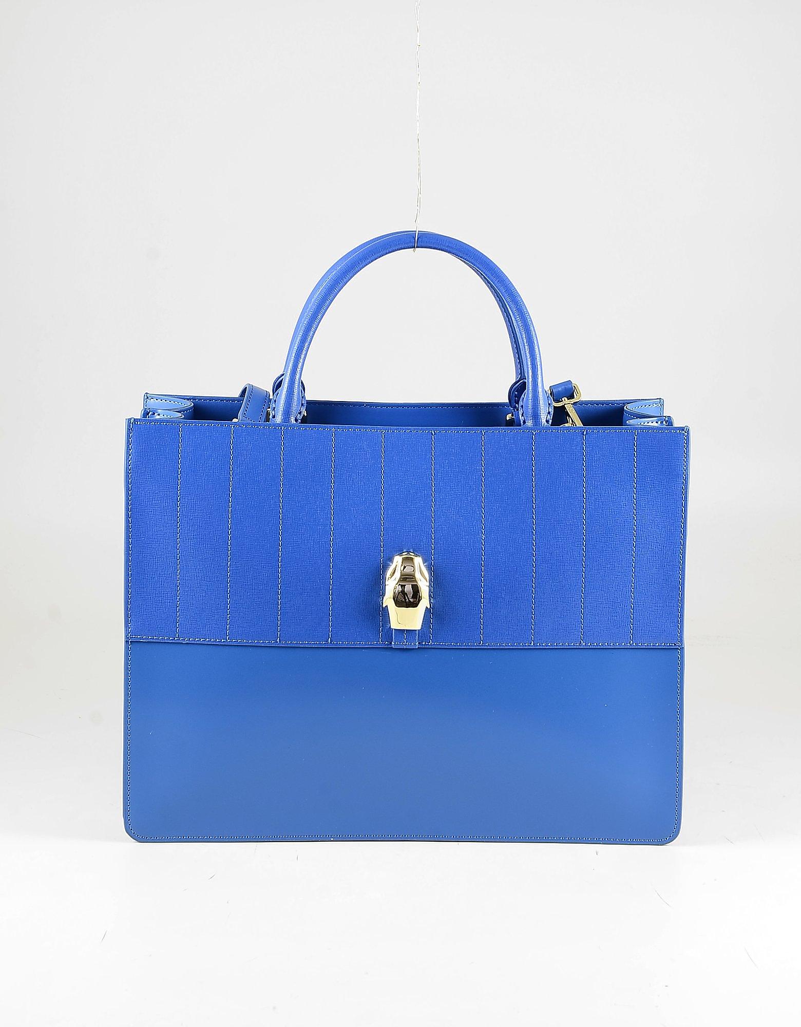 Class Roberto Cavalli Bright Blue Leather Tote Bag