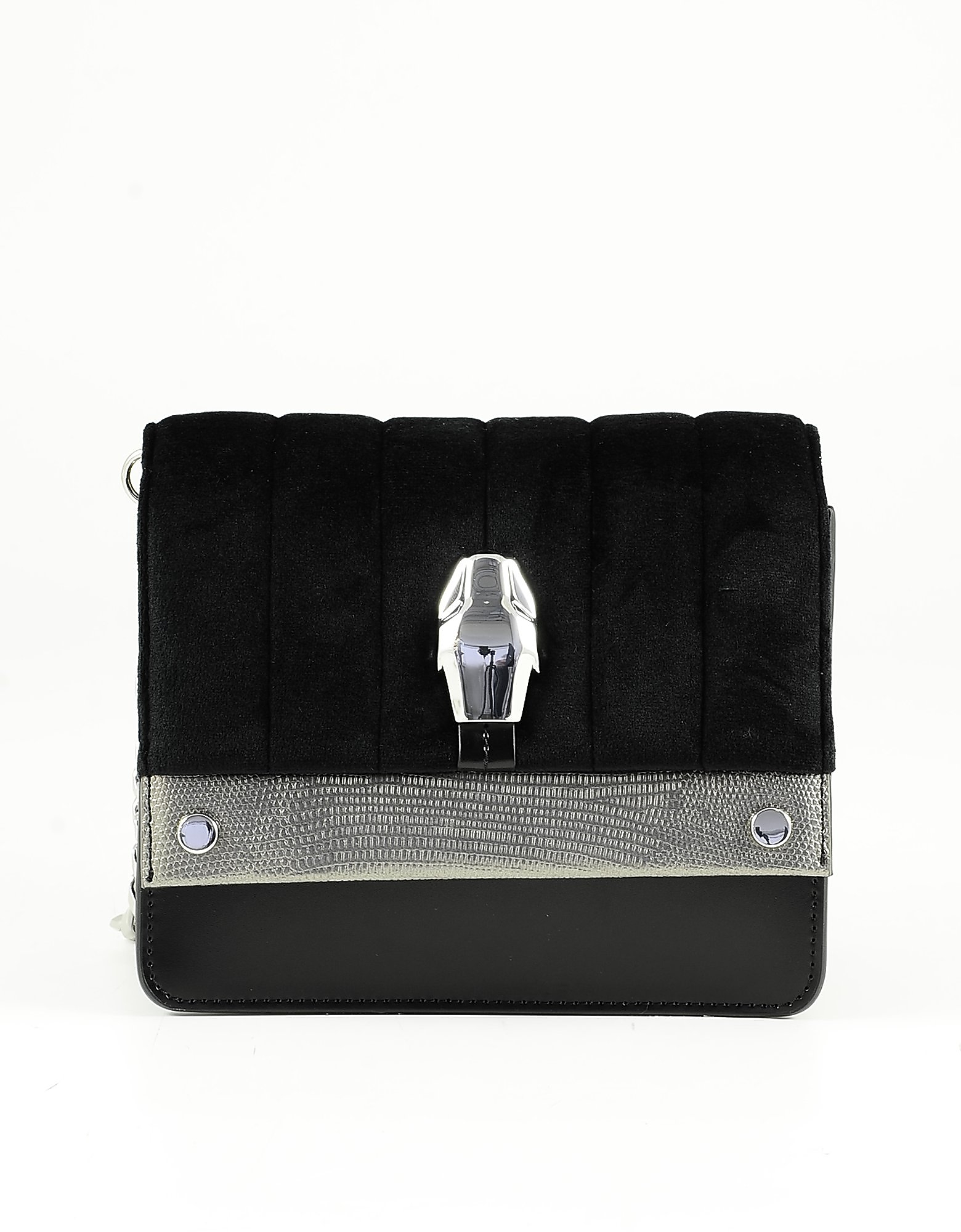 Class Roberto Cavalli Black Leather And Fabric Shoulder Bag