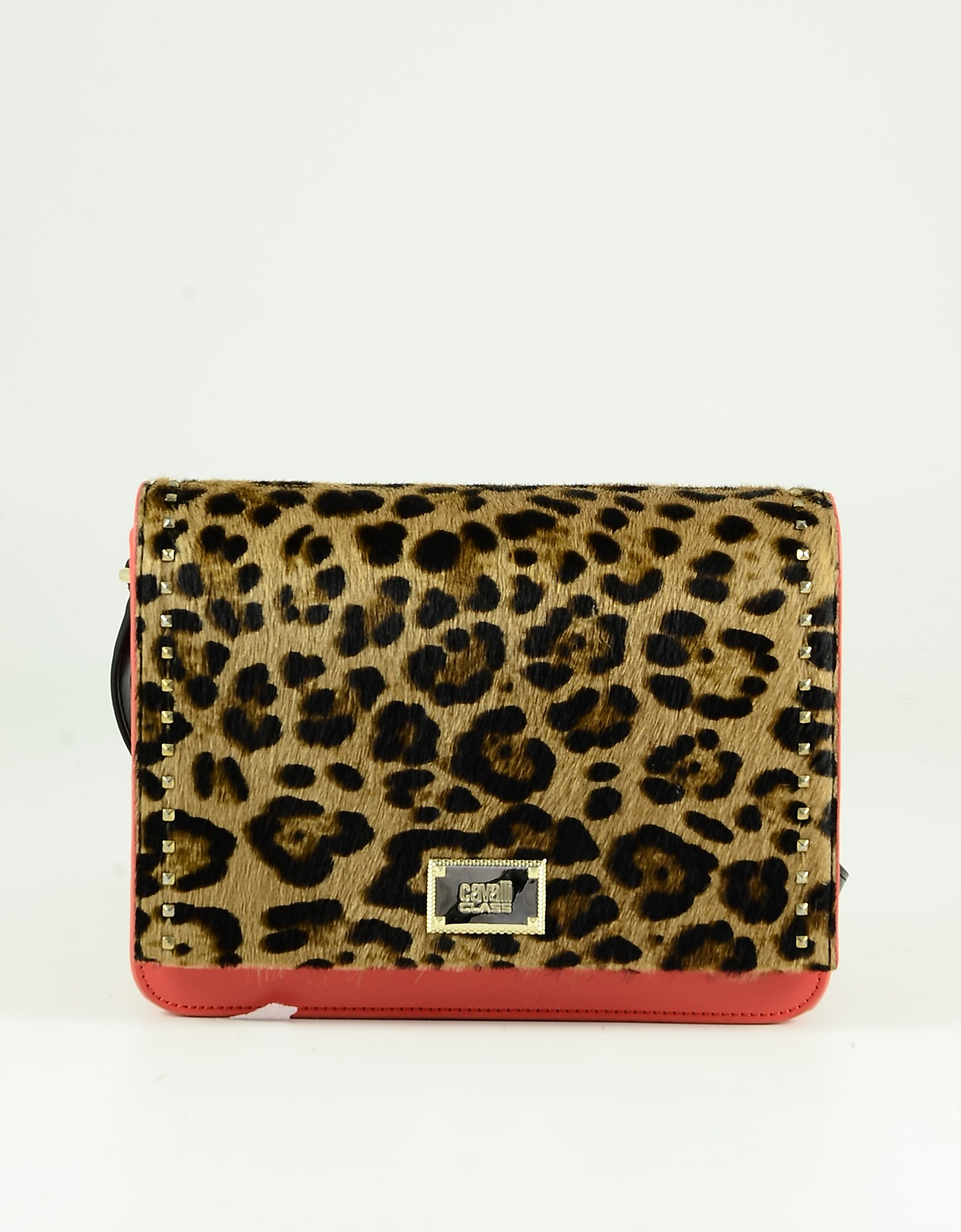Class Roberto Cavalli Animal Printed And Red Hair-calf Leather Shoulder Bag In Bronze