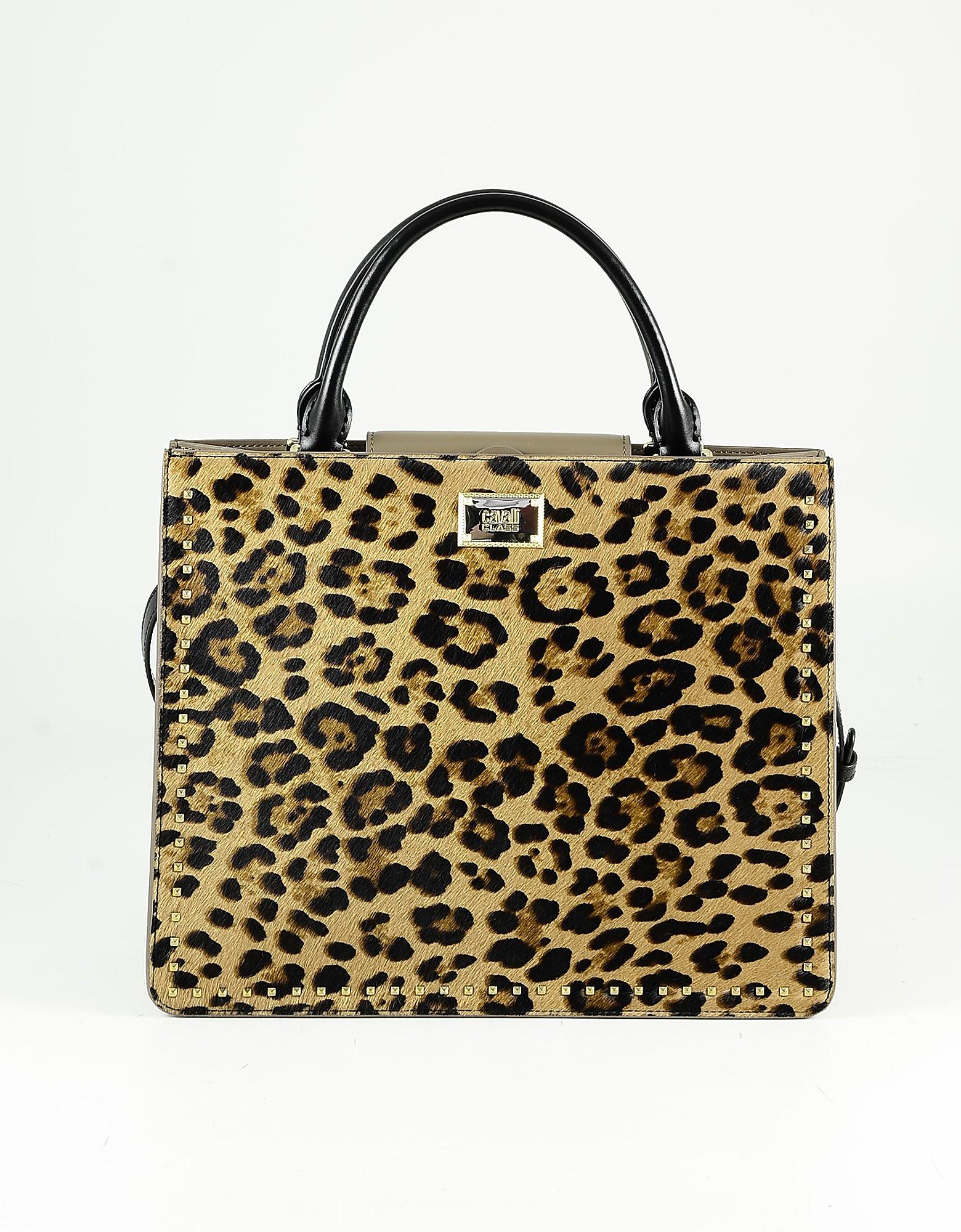 Class Roberto Cavalli Brown Hair-cal Leather Tote Bag