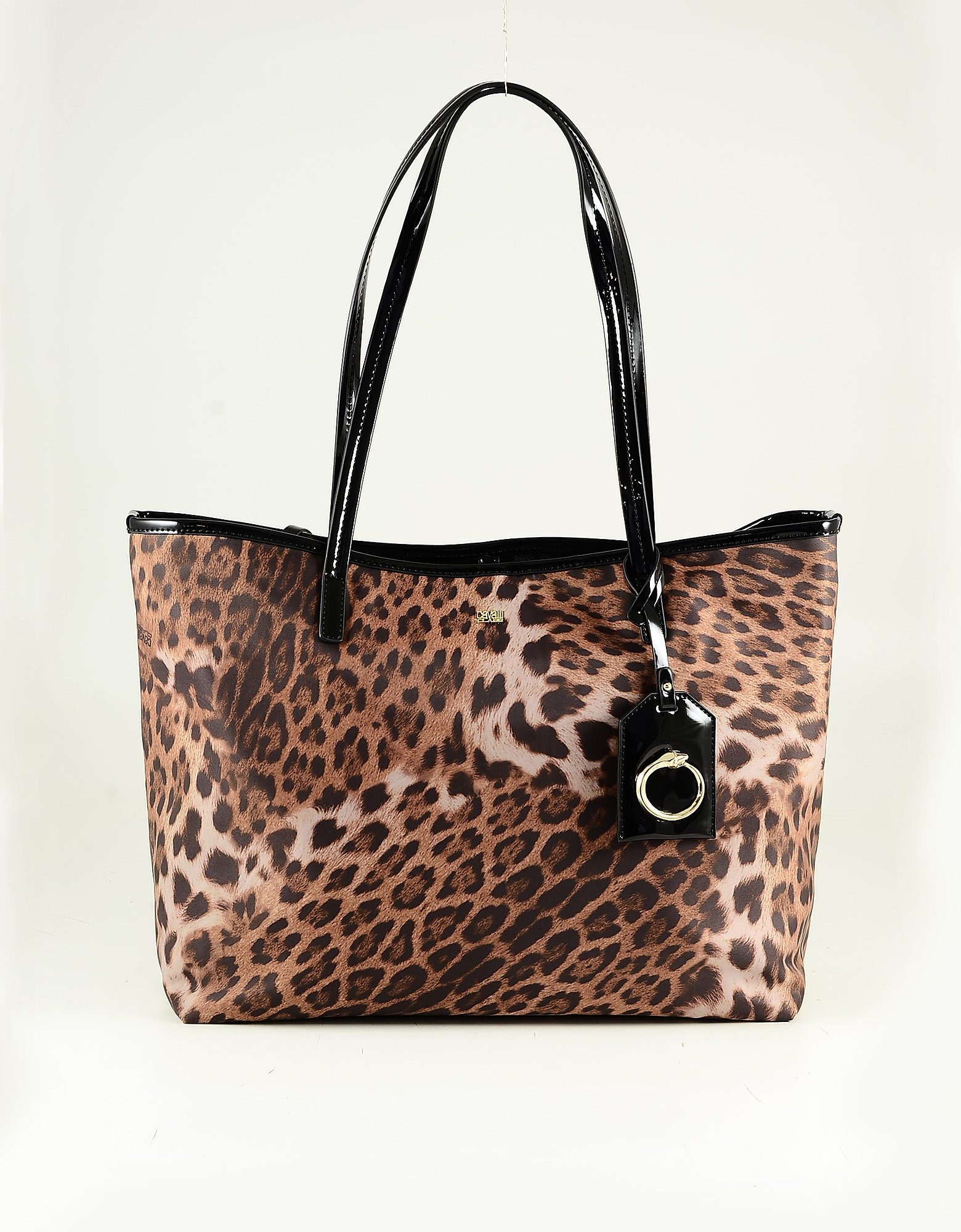 Class Roberto Cavalli Animal Print Coated Canvas Tote Bag In Brown