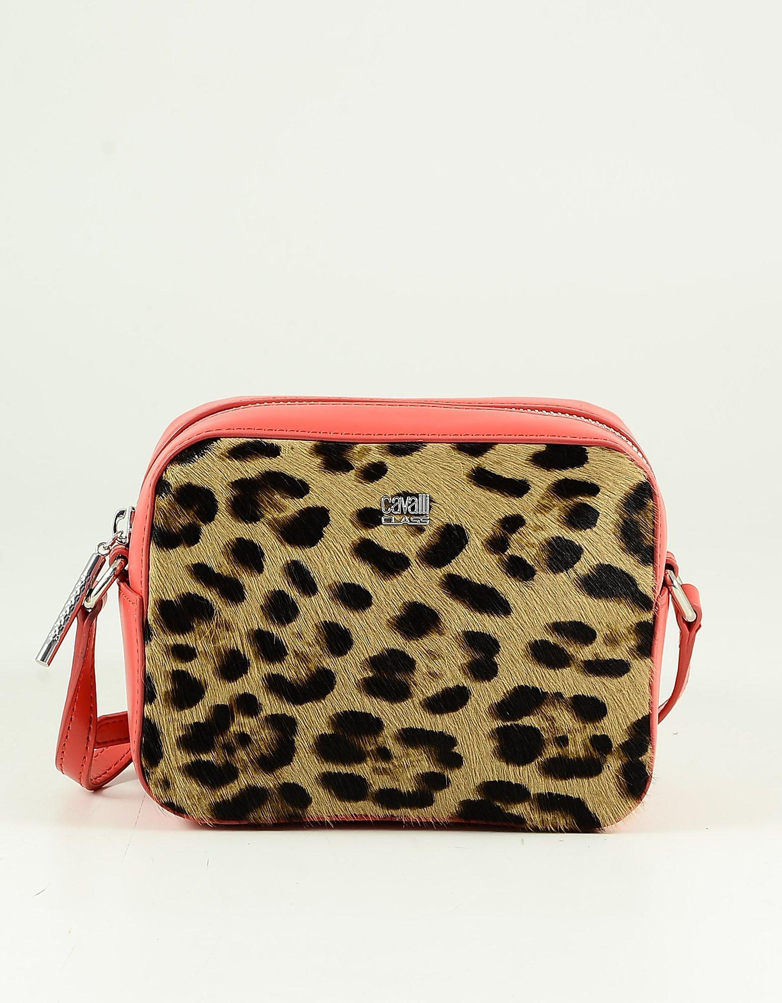 Class Roberto Cavalli Brown Animal Print Hair-calf Leather Camera Bag