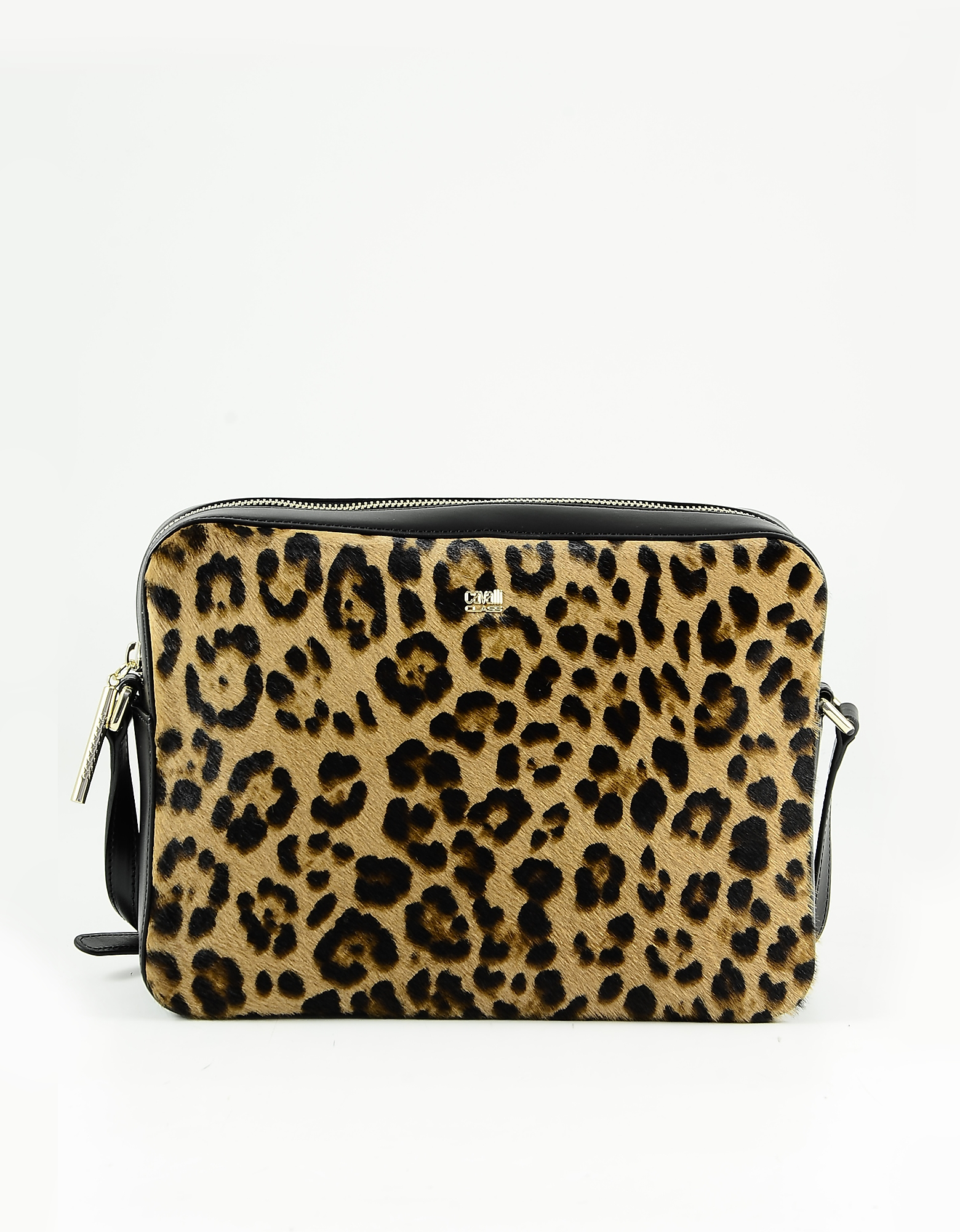 Class Roberto Cavalli Animal Print And Black Leather Shoulder Bag In Brown