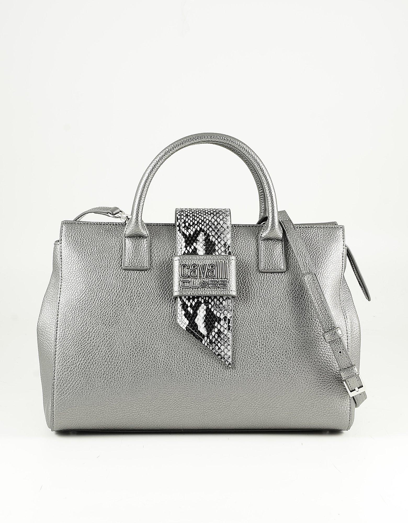 Class Roberto Cavalli Metallic Anthracite Eco-leather Satchel Bag In Gray
