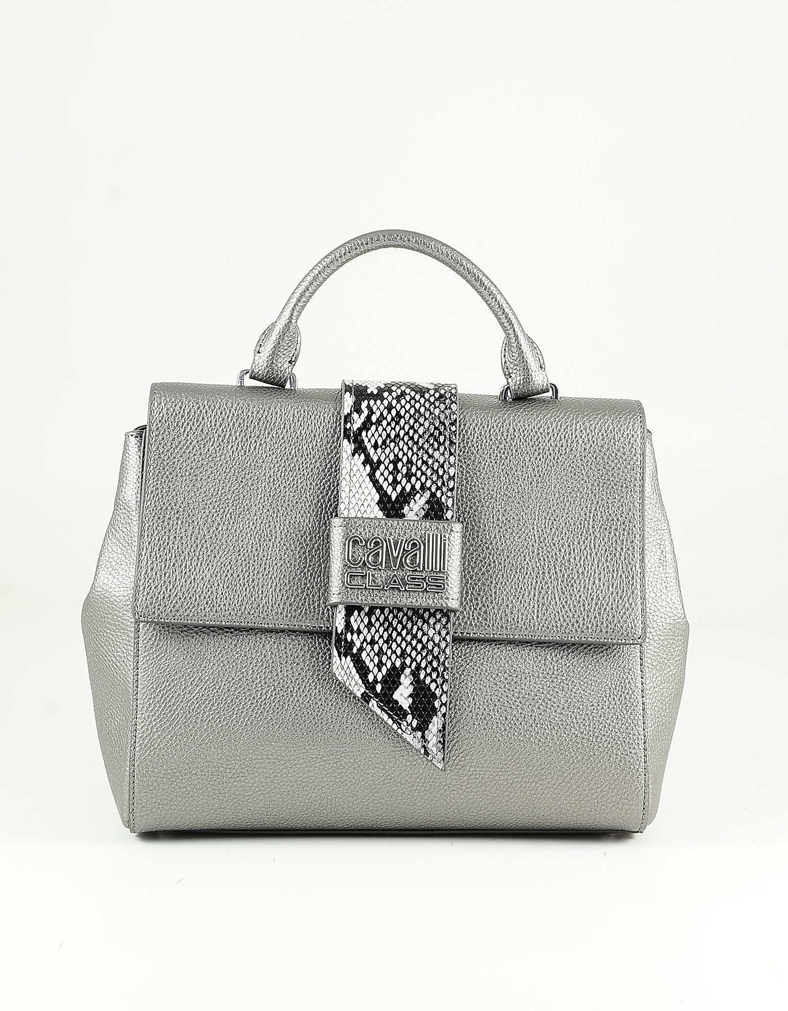 Class Roberto Cavalli Metallic Anthracite Top Handle Small Satchel Bag In Gray