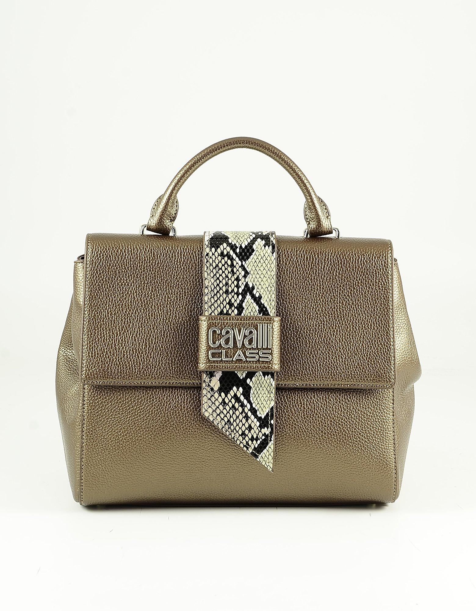 Class Roberto Cavalli Metallic Bronze Eco-leather Small Satchel Bag