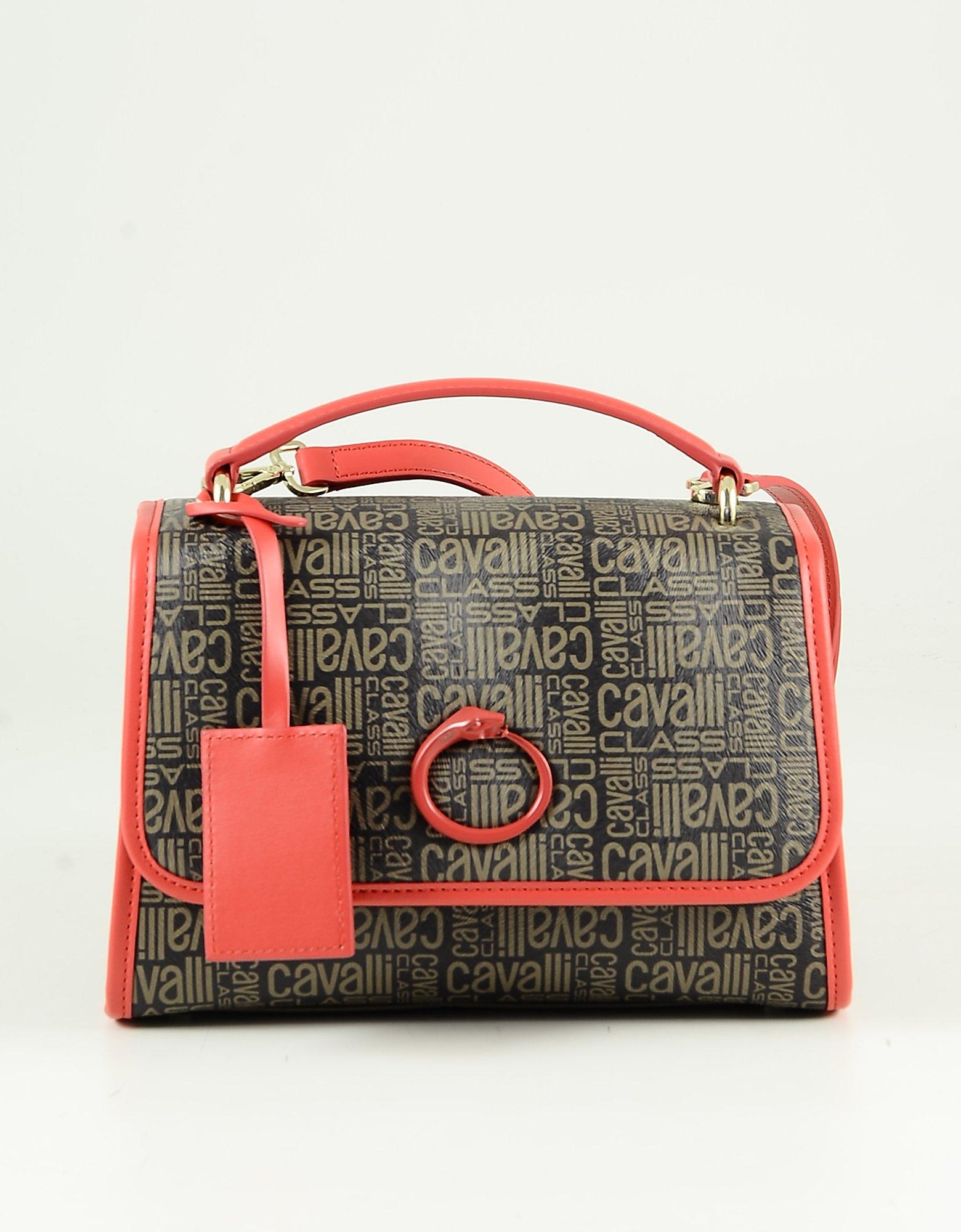 Class Roberto Cavalli Brown & Red Signature Print Top Handle Bag