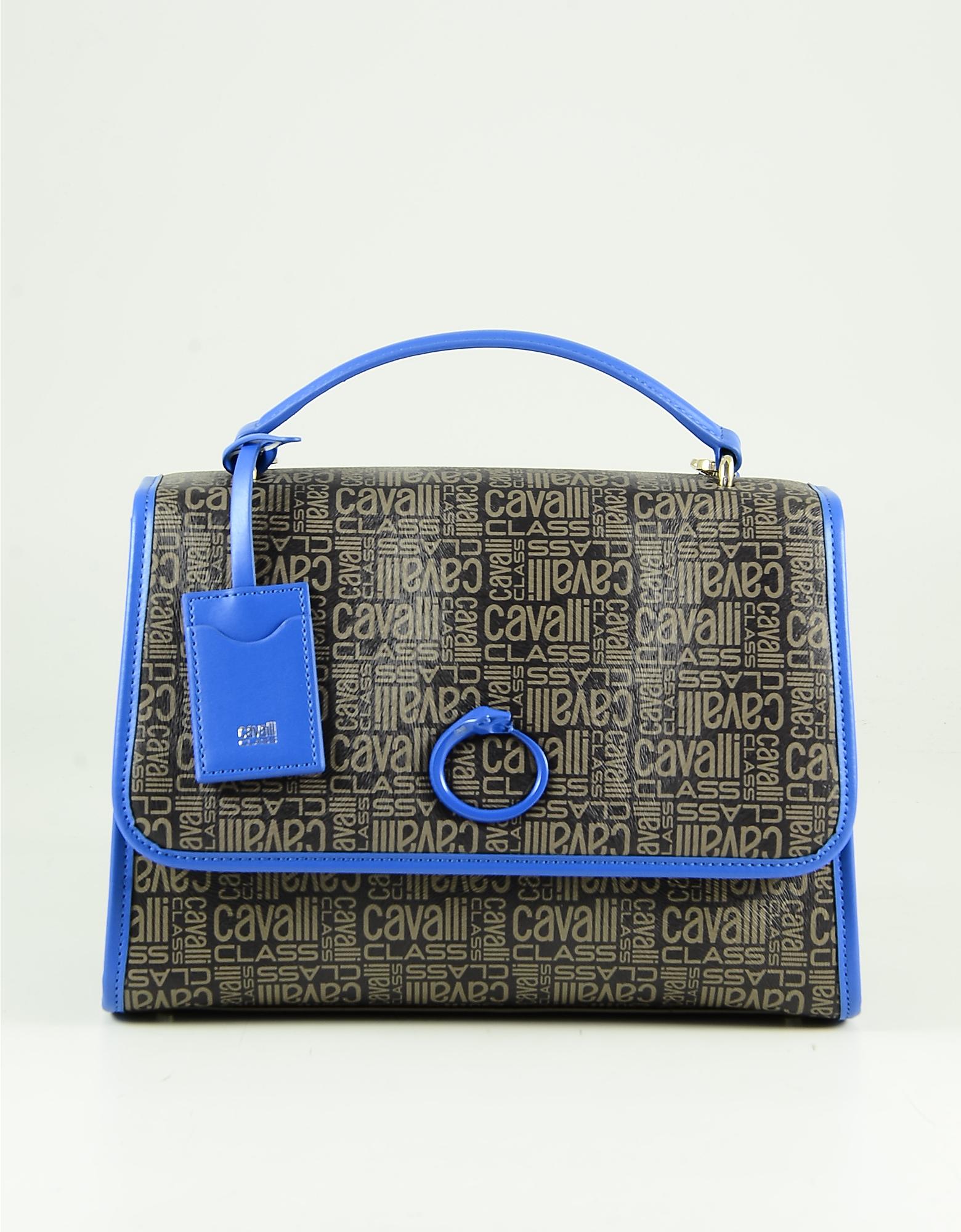 Class Roberto Cavalli Brown & Blue Signature Print Satchel Bag