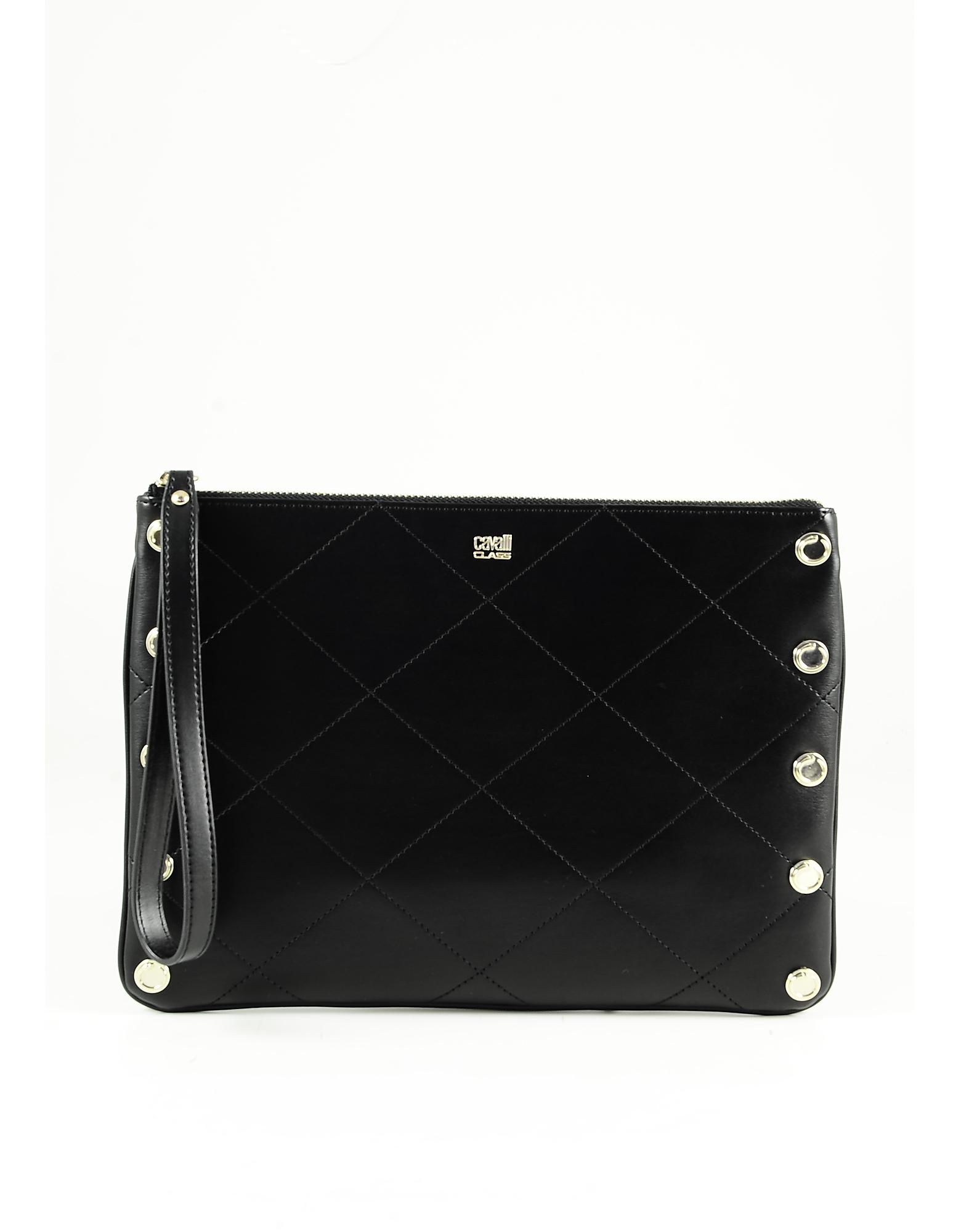 Class Roberto Cavalli Black Leather Clutch W/shoulder Strap