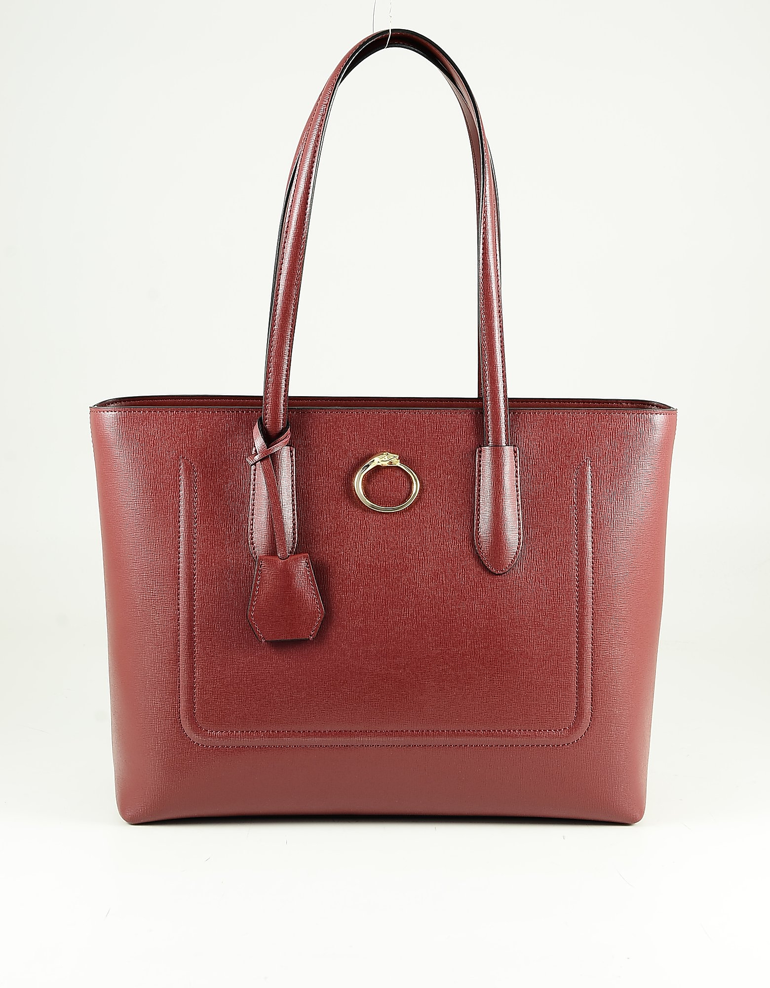 Class Roberto Cavalli Red Leather Tote Bag