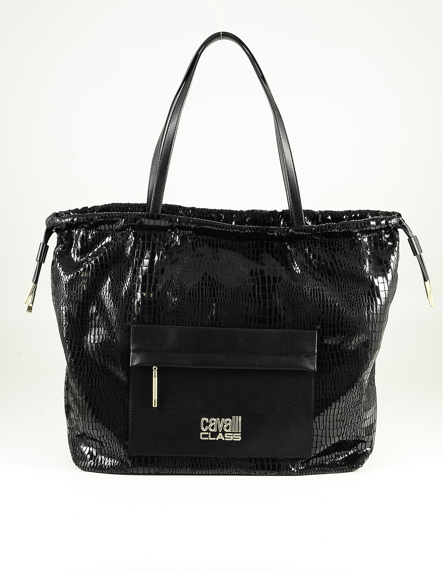 Class Roberto Cavalli Black Embosse Eco-leather Tote Bag