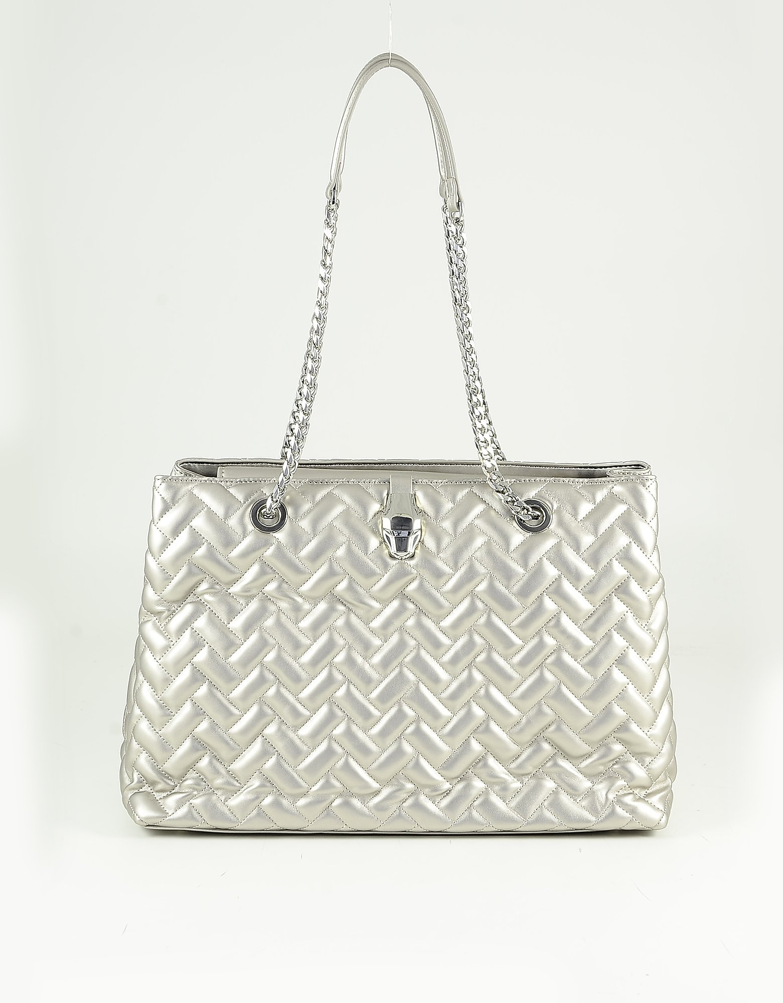 Class Roberto Cavalli Silver Quilted Eco Leather Tote Bag