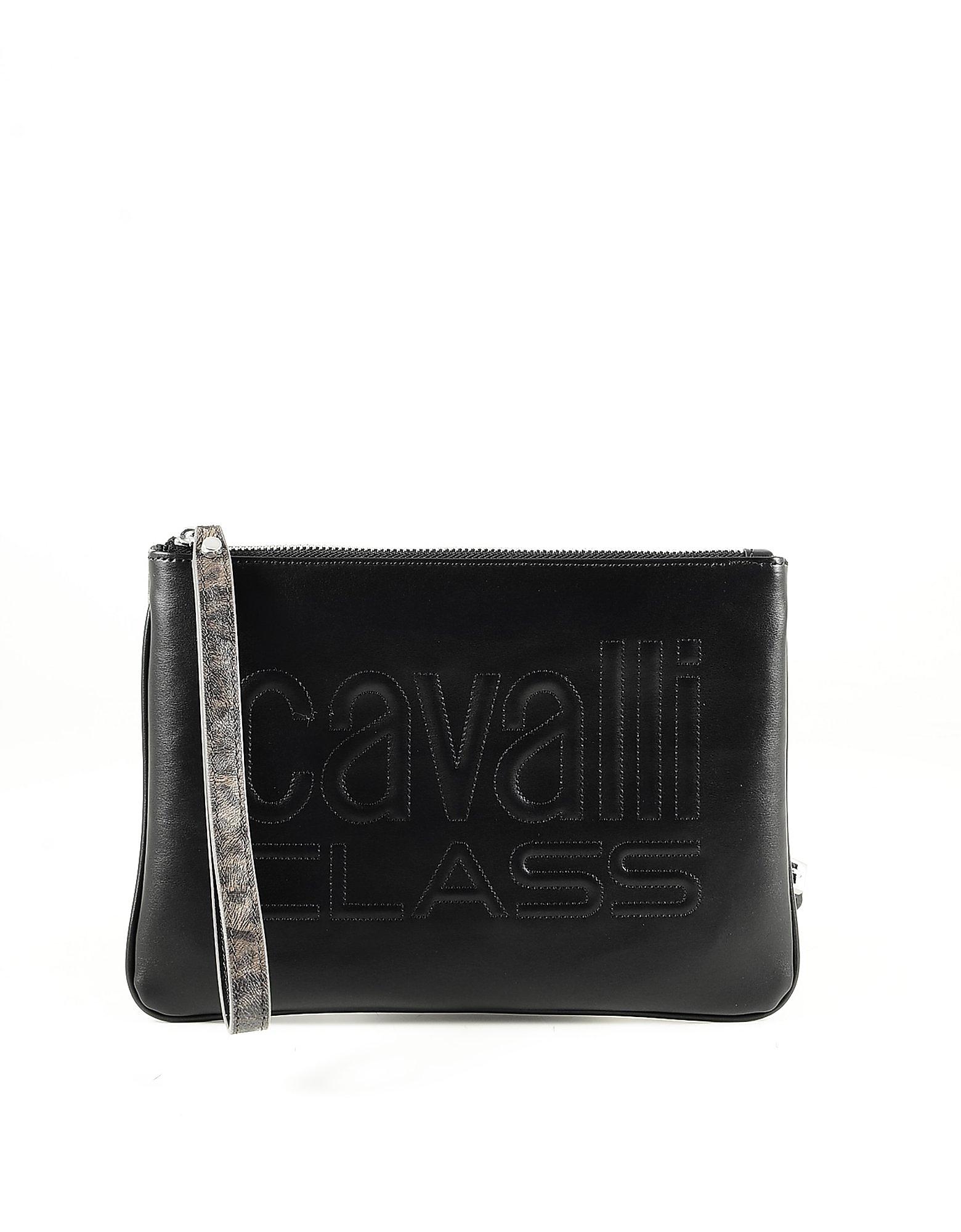 Class Roberto Cavalli Color Block Signature Clutch W/shoulder Strap In Black