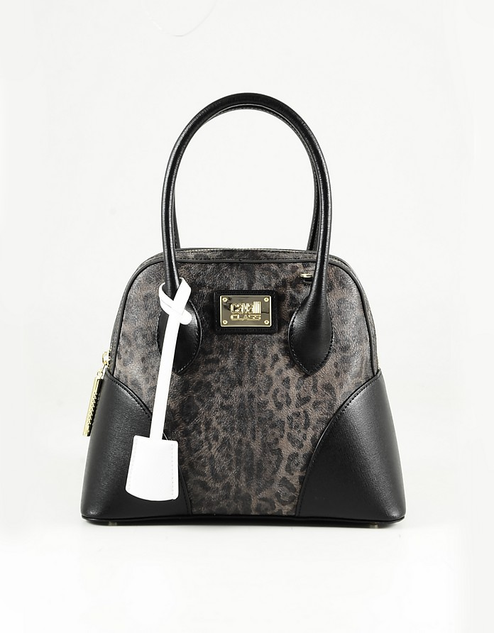 Animal Print Leather Bowler Bag - Class Roberto Cavalli