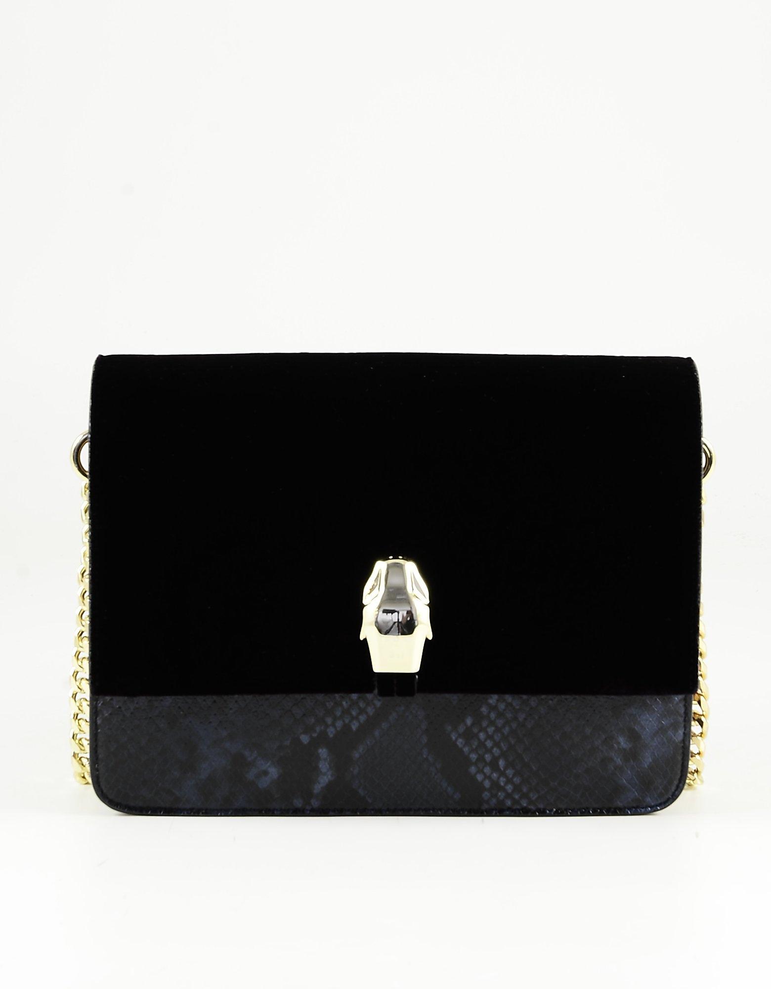 Class Roberto Cavalli Black/blue Animal Print Leather & Velvet Shoulder Bag