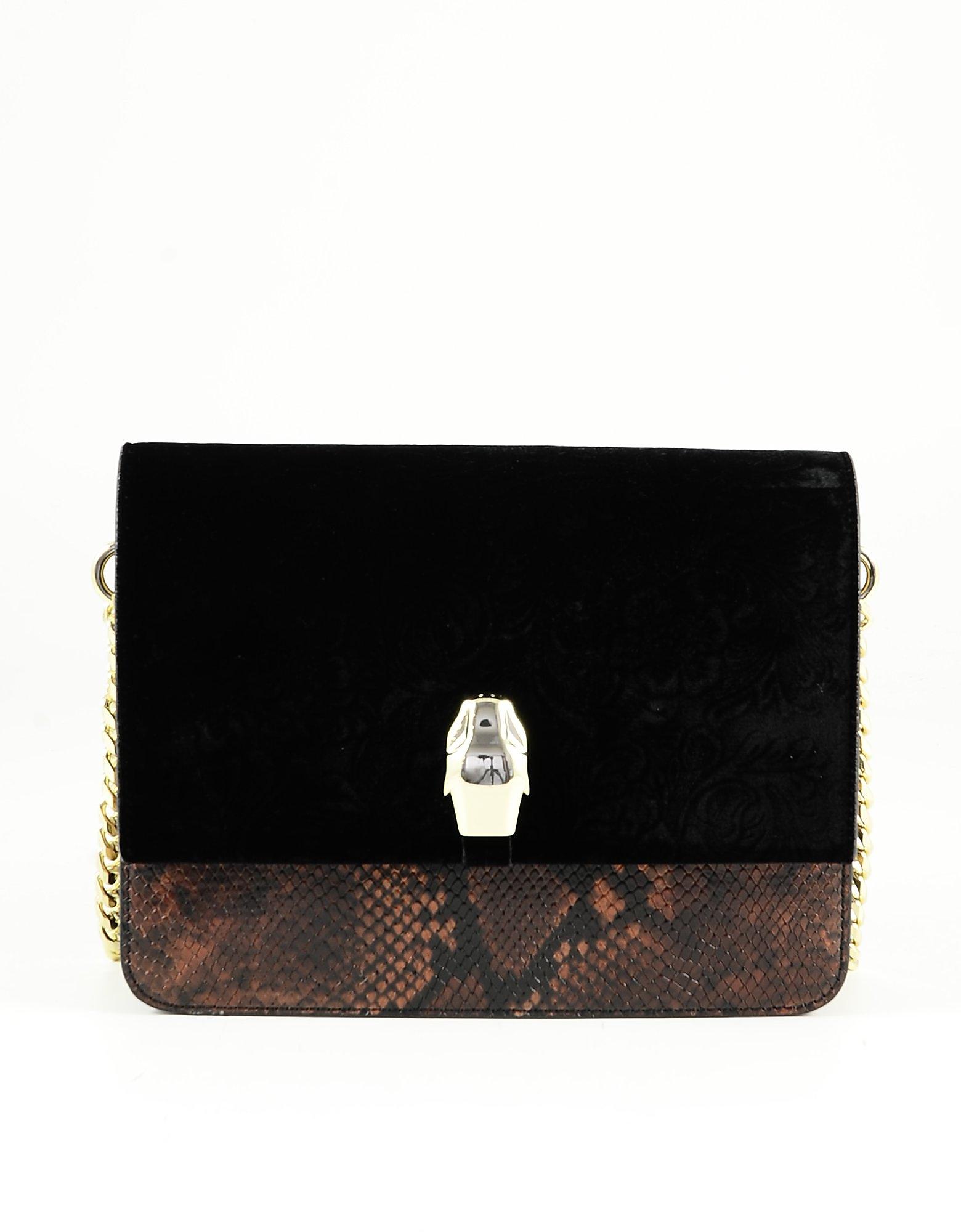 Class Roberto Cavalli Brown & Black Animal Print And Velvet Shoulder Bag