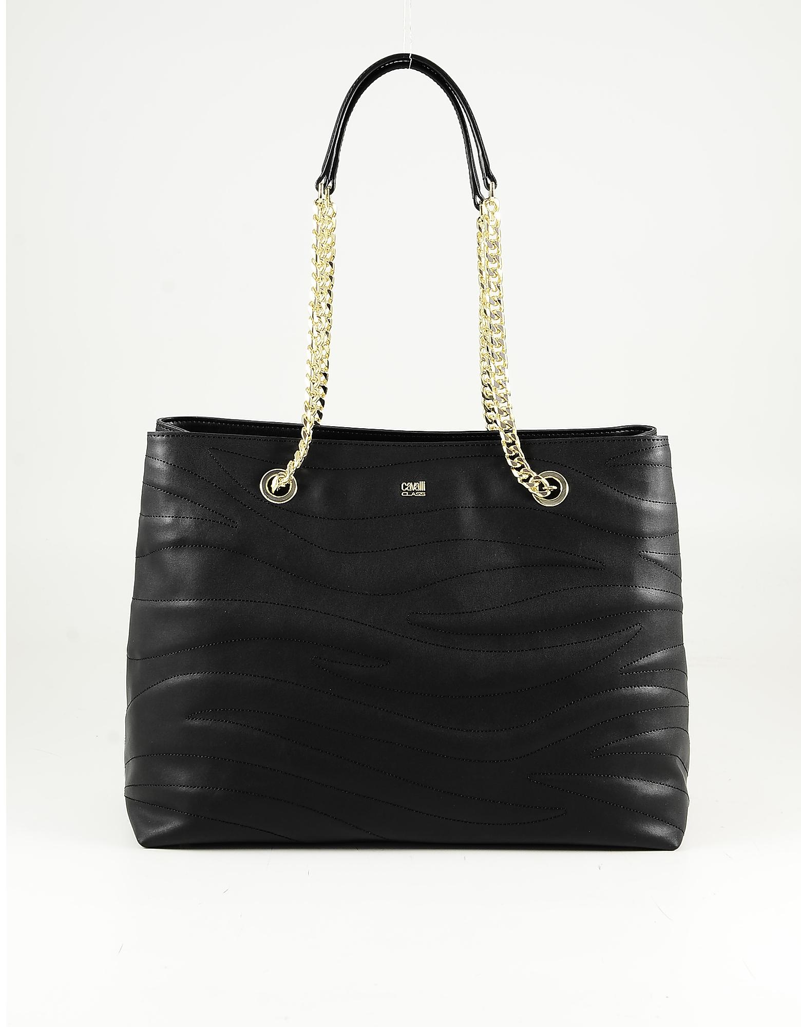 Class Roberto Cavalli Black Leather Tote Bag W/chain Straps