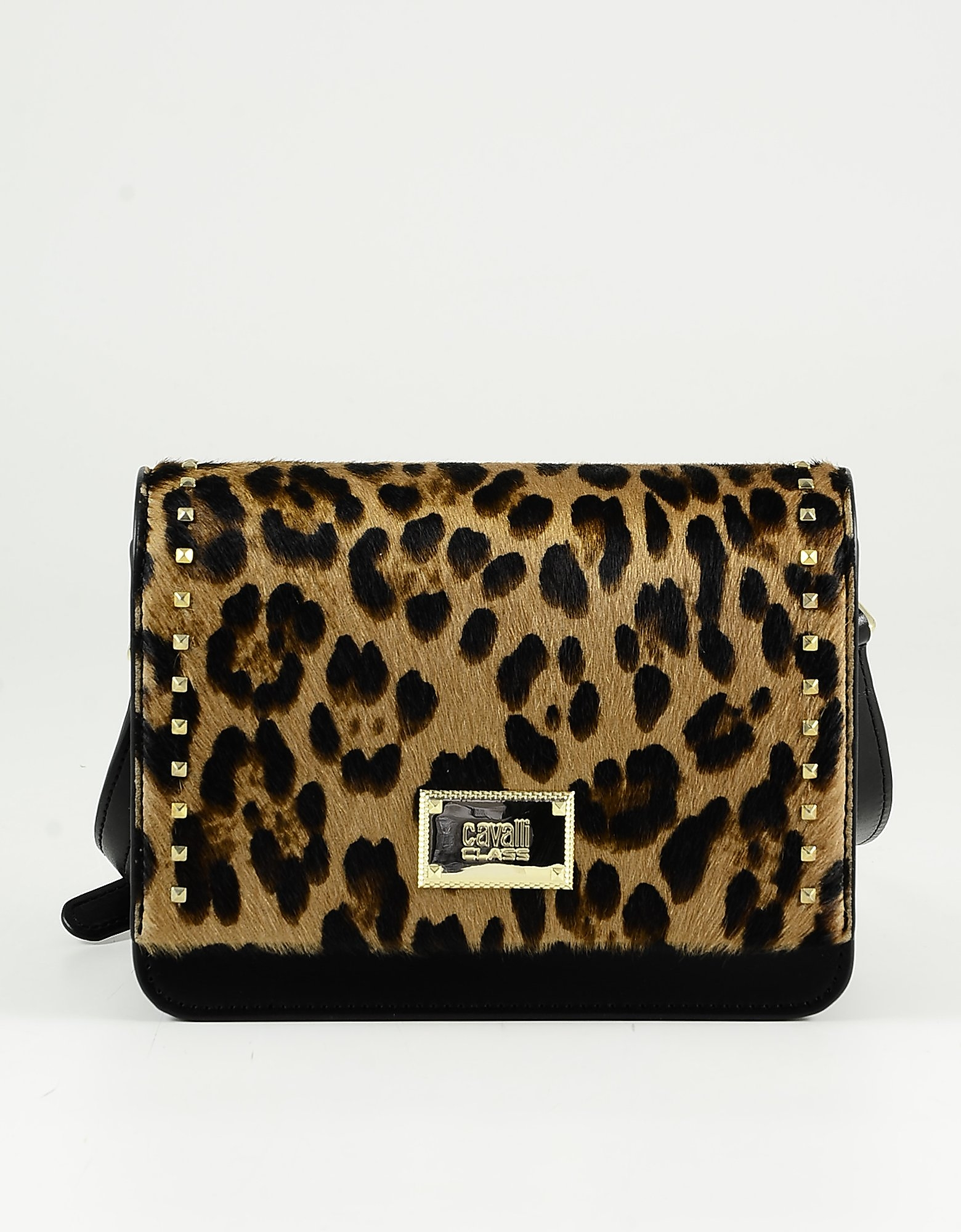 Class Roberto Cavalli Animal Print Hair-calf And Black Leather Shoulder Bag W/studs In Brown